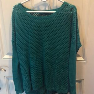 Prana sweater teal Large New! Crocheted body